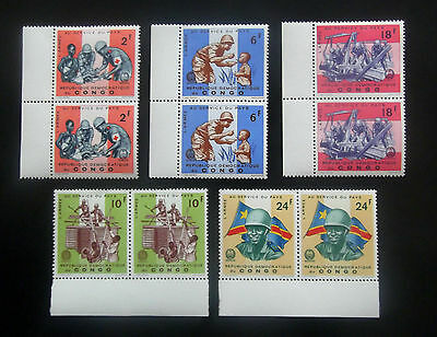 Congo-1966-Red Cross/Army/Rescue-Full set of Joined pairs-MNH