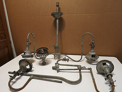 Vintage LOT Victorian Arms Brass Gas With Light Fixtures Parts for Restoration
