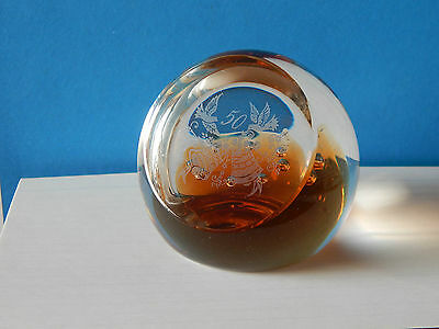 Old Large Caithness Scotland 50th Golden Wedding Anniversary Glass Paperweight