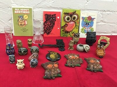 Owl Collection Lot of 26 Ceramic Metal Wood Figurines Night Light Flute Bell