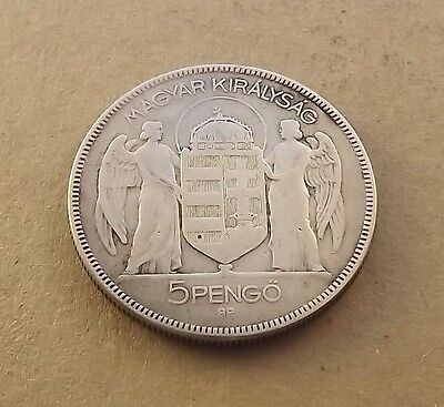 Hungary 1930-BP 5 Pengo Admiral Horty Silver C|2193