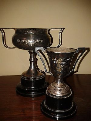 Pair Of Silver Plated Presentation Cups. Vintage Presentation Cups