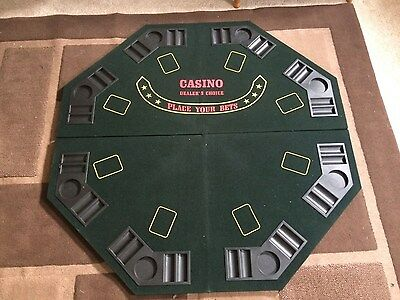 Poker Casino Table Top For 8 Players -Green Felt - Foldable