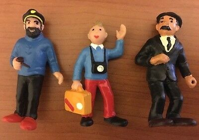 Tintin Haddock and Thomson Lot of 3 Vintage Figures By Bully Herge Figurines