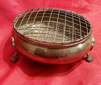 """Vintage or Antique Silver Plated Rose Bowl  on three feet 8"""" diameter"""
