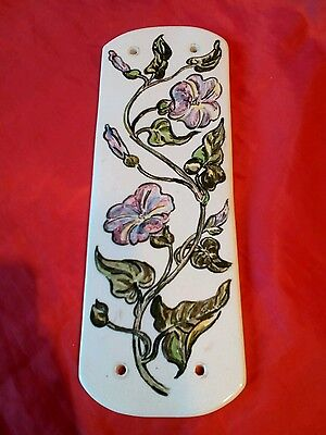 Vintage OR ANTIQUE  ceramic floral door hand push plate
