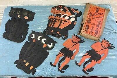 Lot 14 Vtg German die cut embossed Halloween decoration Box Witch Cat Devil Owl