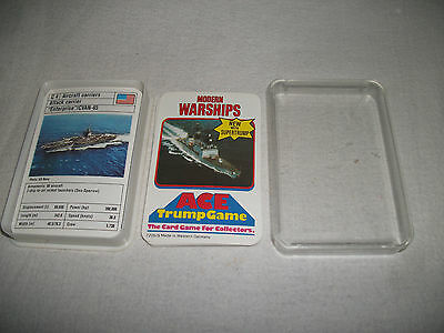 Vintage Ace Trump Card Game-Modern Warships-Complete Top Trumps