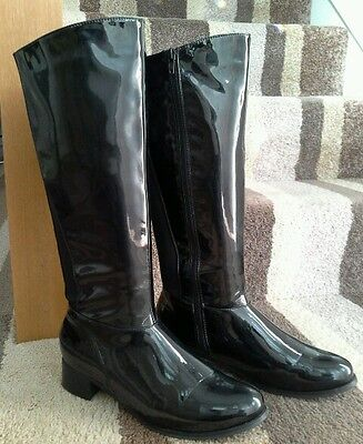 Black Patent Effect Knee High Boots size 8