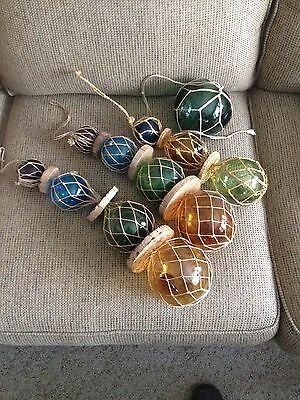 4 sets Hanging Glass Fishing Float Balls Nets Corks Beach House
