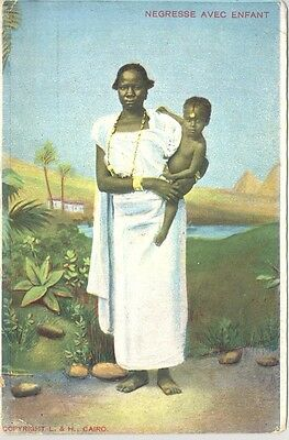 "Egyptian postcard ""Negresse avec Enfant"", Native Mother, child"