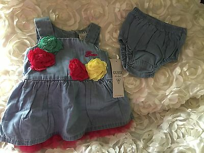 Baby Girl Or Reborn Denim Guess Dress Set 0-3months NWT
