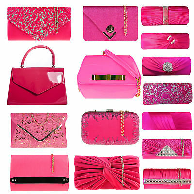 Fushia Rose Hot Pink Bridal Party Wedding Prom Evening Clutch Handbag