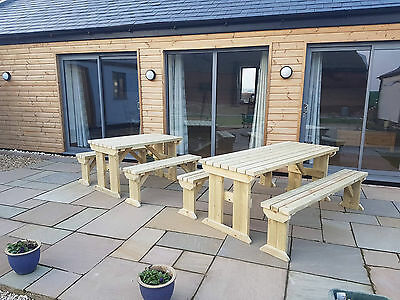 Picnic Table and Bench Set Wooden Outdoor Garden Furniture, Aspen Heavy Duty