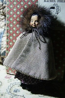 Beautiful carved wood Hitty doll  height 16 cm(6.3).