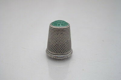 Solid 800 Silver Agate Thimble