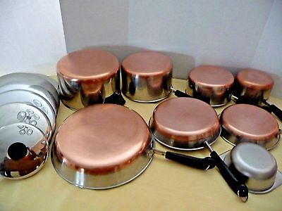 Vintage 15 pc Set Revere Ware Stainless Steel Copper Clad Cookware Clinton Ill