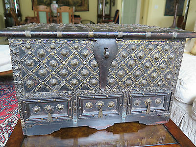 """Large Antique Box Dark Wood and Studs 3 Drawer 19"""" Southeast AsiaMagnificent"""