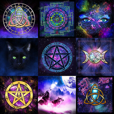 Tarot Table Cloth - Triple Moon Pentacle Goddess Wicca Pagan Tapestry Altar Gold