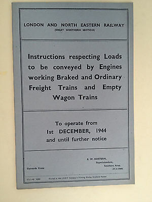 LNER GN Section - Loads to be conveyed by engines - 1st December 1944