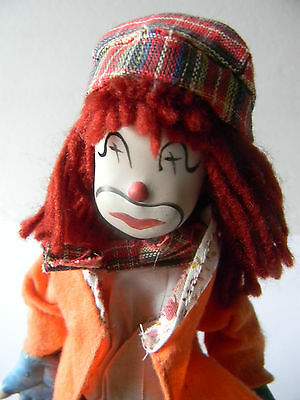 """VINTAGE Red Hair Procelain Clown Doll w/ Stand 7.5"""" Procelain Hand Feet Face"""