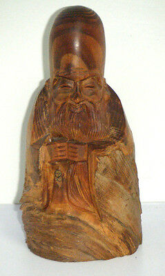 Hand Carved Asian Timber Man Figure - Signed Japanese or Chinese