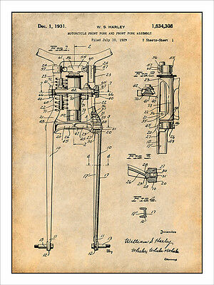 1929 Harley Davidson Front Fork & Assembly Patent Print Art Drawing Poster