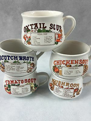 SET of 5 Vintage RETRO SOUP MUGS Flavours / Recipe Bowls Collectable Kitchen