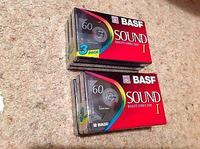 6x Blank BASF  Audio Cassette Tapes NEW SEALED Sound1 Quality Ferric Tape