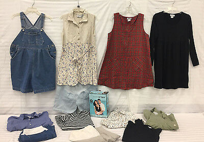 Lot of 11 Maternity Clothing Tops, Overalls and Shorts  Sz M