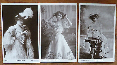3 X Real Photo Postcards, Actresses, Evie Greene, Adrienne Augarde, Mabel Love
