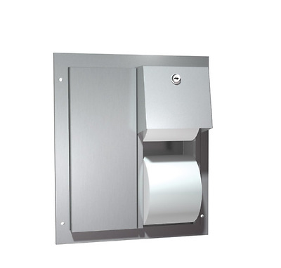 ASI Dual Access Partition Mounted Dual Roll Toilet Paper Tissue Dispenser 0032