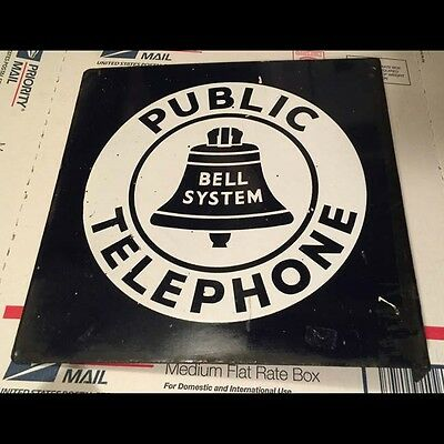 Orig 1940s-50s Flanged Porcelain Bell System Public Telephone Double Sided SIGN