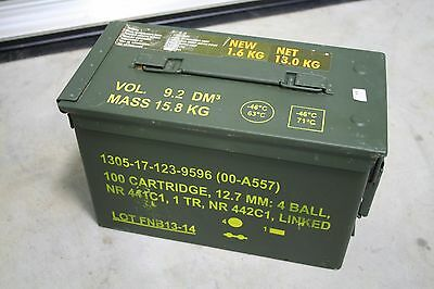 1 US Military Issued M2A1 Ammo Can Box Surplus RARE FN BEGIUM MADE 5.56 .50 Cal