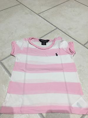 Ralph Lauren Pink And White Stripe T Shirt Age 3
