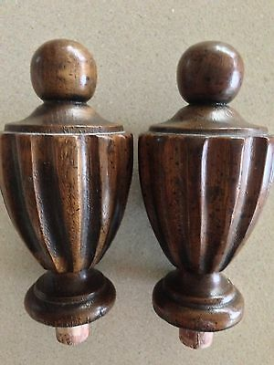 2 LG Vtg Fluted Turned Walnut ? Wood Clock Bed NEWEL POST Finials Architectural