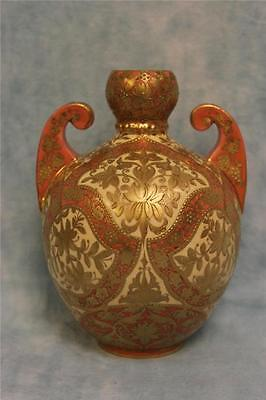 "7.5"" Antique Crown Derby Porcelain Urn Double Handled Salmon & Gold c.1880"