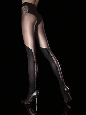 Over The Knee Imitation OTK Effect FASHION  LACE UP Pantyhose Tights *XL* BLACK