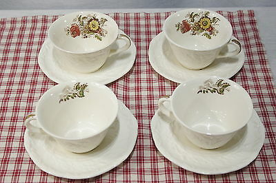 LOT of 4 SETS Cups and Saucers Mason's Friarswood Embossed, Multi-coloured.