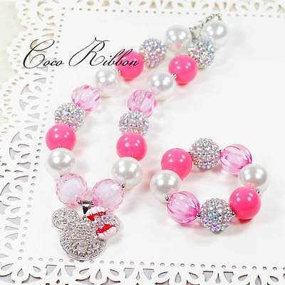 "16"" Pink Pearl Chunky Bubblegum Minnie Mouse Necklace / Bracelet Set for Kids"