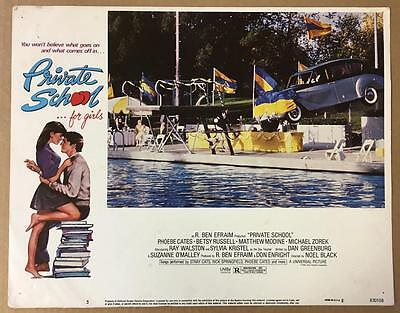 Rolls Royce going into the pool Private School 1983 # 5 lobby card 1085