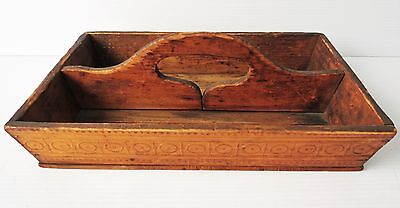 Antique Wooden EMBOSSED CUTLERY TRAY / TOTE BOX
