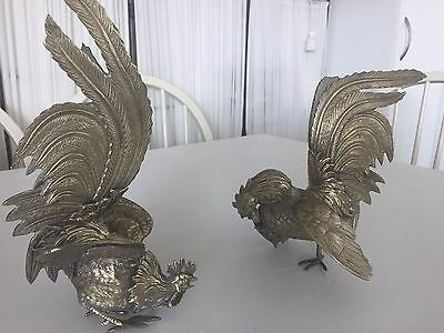 Pair of vintage fighting cocks - solid brass