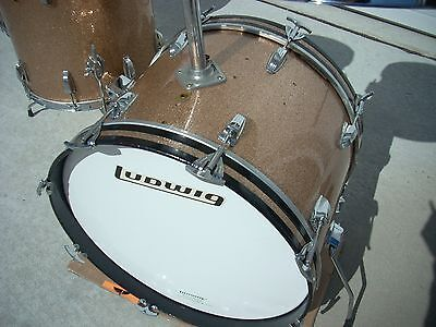 1960's Ludwig 20 inch tom bass drum champagne sparkle Exc!