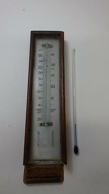 Vintage Wooden Thermometer Box with separate glass thermometer Spares Repairs