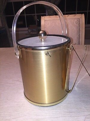 """Vintage Gold Tone Ice Bucket 9"""" Tall with tongs"""