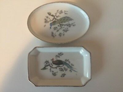 Two Rosenthal Ceramic Peacock pin dishes