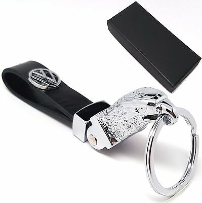 VW Volkswagen eagle head metal and leather key ring with gift box
