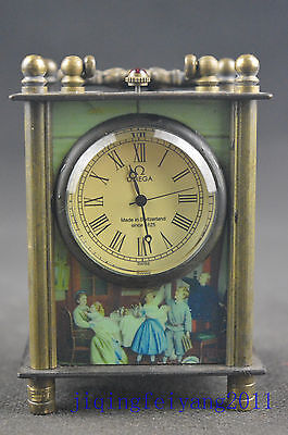 collectable copper handwork carve delicate machinery clock second-hand