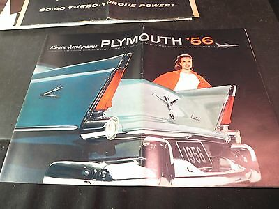"Original 1956 Plymouth Large Sales Brochure 14"" x 10-1/4"""